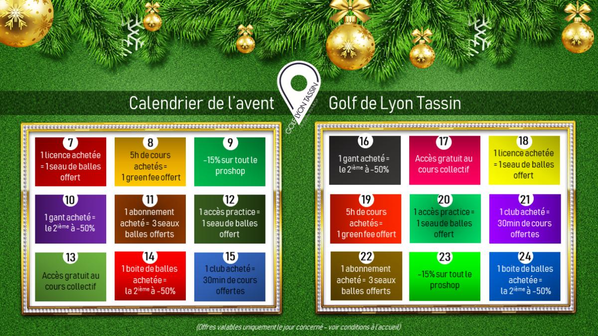 Découvrez vite le calendrier de l'avent du Golf de Lyon Tassin !