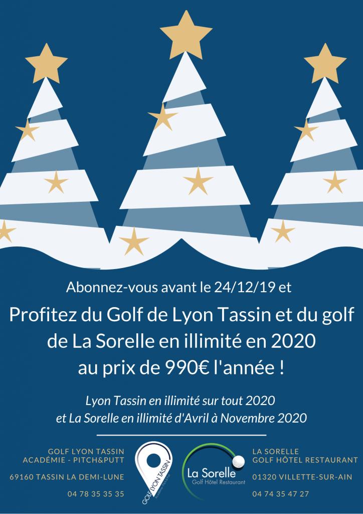 offre Noël sur abonnements golfs Lyon Tassin + La Sorelle
